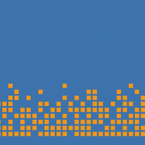 Pixel orange på blå