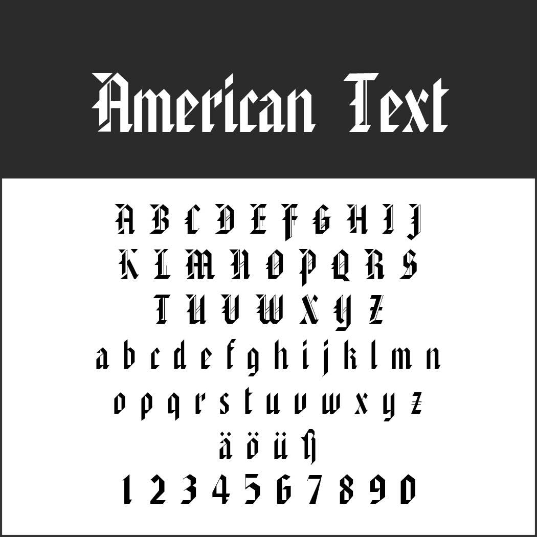Gotisk skrift American Text