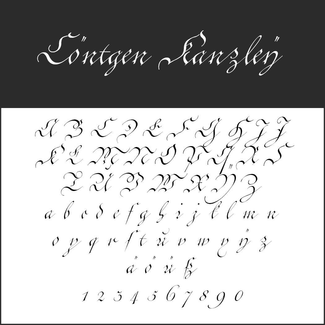 Gotisk skrift Cöntgen Kanzley